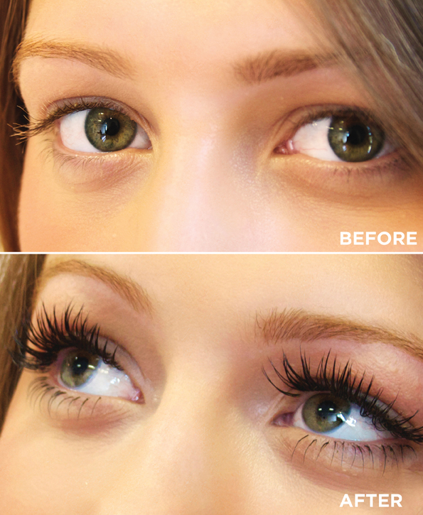 Eyelashes before and after Kellie Ellen Beauty treatments